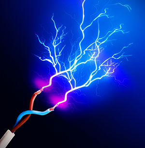 A graphic showing exposed wires shooting blue electricity into the air, demonstrating electric shock dangers.