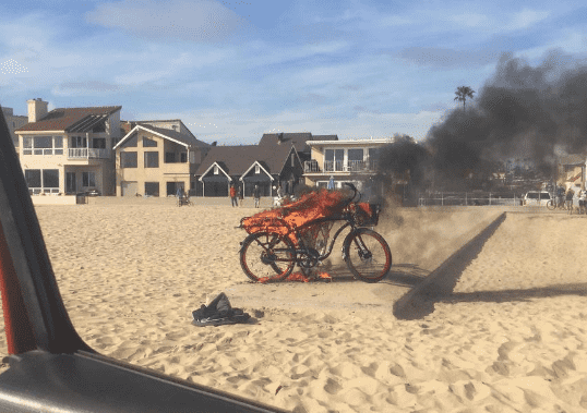 Electric Bike Catches Fire, Shoots Out Battery Parts in Newport Beach