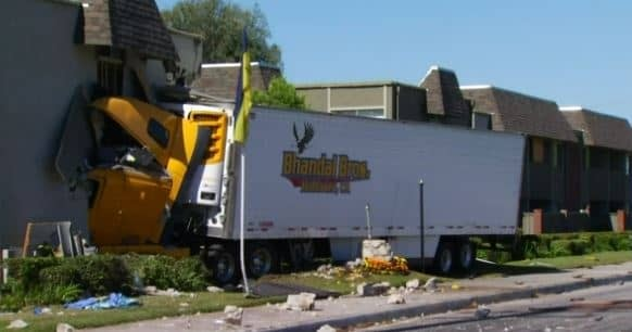Big Rig Crashes into Fullerton Apartment Building Injuring Five