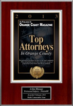 John Bisnar Awarded the Top Attorneys in Orange County Award